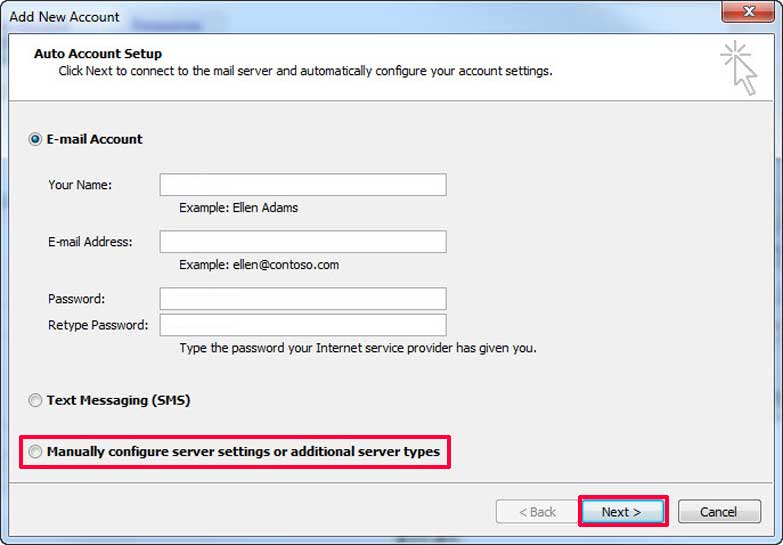 Outlook 2010 Email Setup from Freecom Internet Services