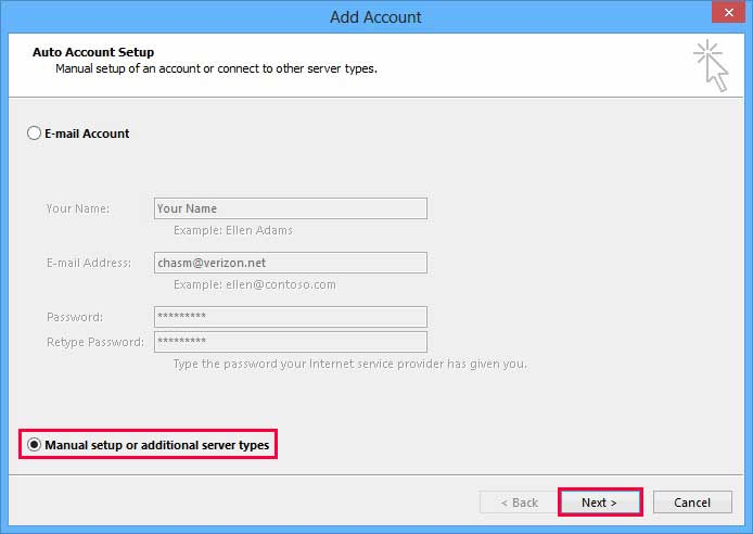 Outlook 2013 Email Setup from Freecom Internet Services