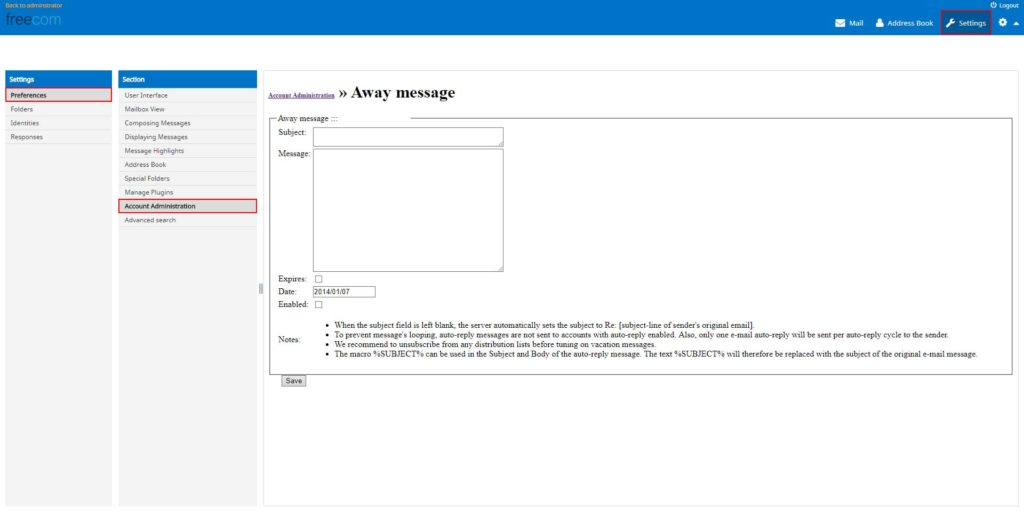 Freecom Webmail Auto Responder / Away Message